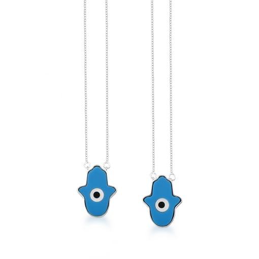 Escapulário com Pingentes Mão de Fátima Azul em Prata Lisa
