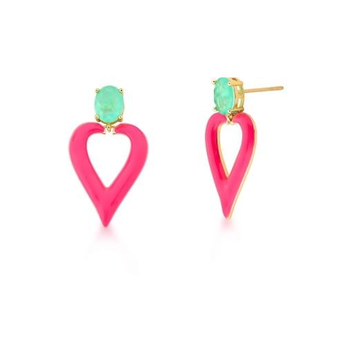 Brinco Pêndulo Esmaltado Pink e Cristal Turmalina Banhado a Ouro