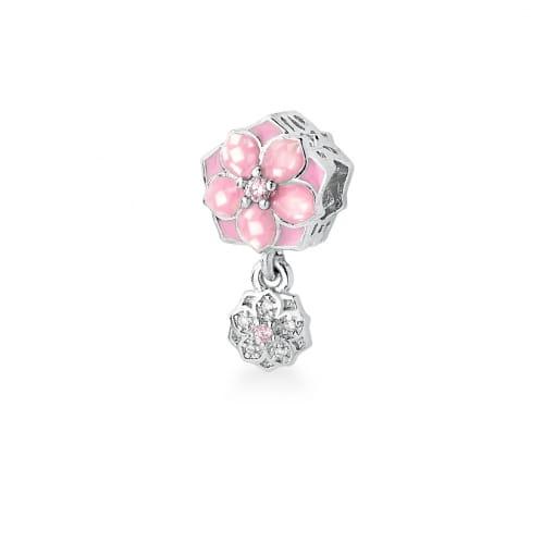 Berloque de Flor Esmaltado na Cor Rosa Banhado a Ródio