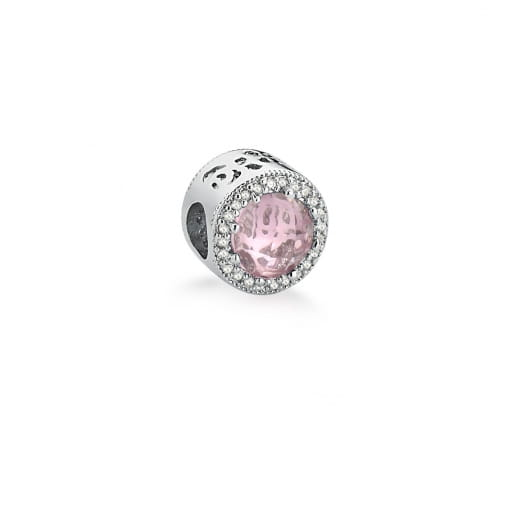 Berloque Redondo com Cristal Rosa Banhado a Ródio