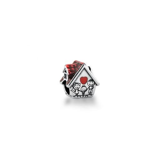 """Berloque de Casa Vermelha com Escrita """"Family"""" Prata Envelhecida"""