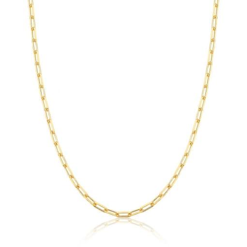Corrente com Elos Retangulares Lisos 70cm + 5cm Banhada a Ouro