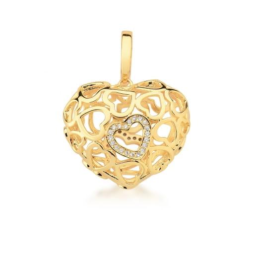 Pingente de Coração Vazado e Cravejado Banhado a Ouro
