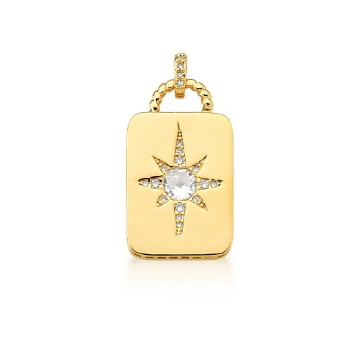 Pingente Retangular com Estrela Branca Banhado a Ouro