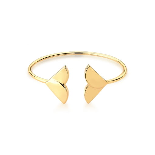 Bracelete Aberto com Cauda de Sereia Liso Banhado a Ouro