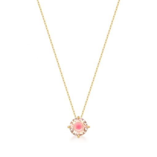 Corrente com Pingente de Cristal Redondo Rosa Banhada a Ouro