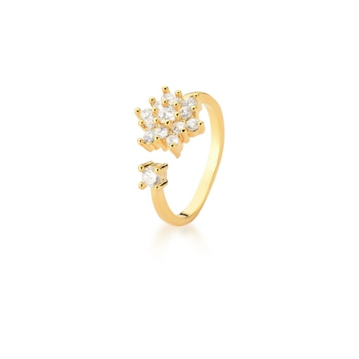 Anel Regulável Flor com Zircônias Brancas Banhado a Ouro