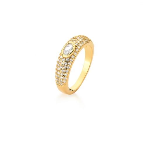 Anel Cinco Fileiras com Zircônias e Cristal Oval Banhado a Ouro