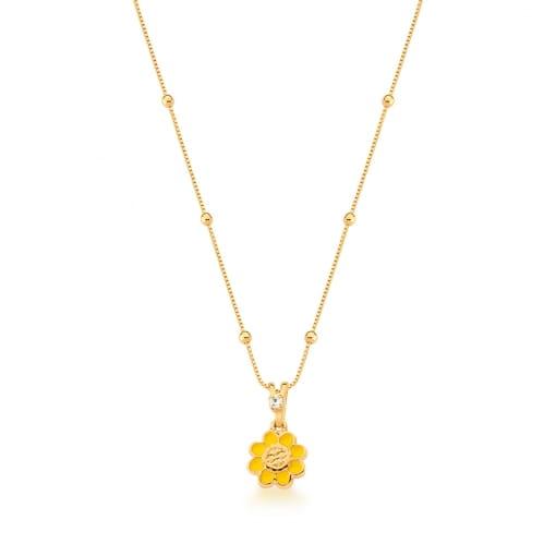 Corrente Kids com Pingente Flor Esmaltado Amarelo Banhada a Ouro