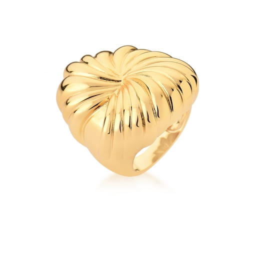 Anel Oval Curvo e Liso Banhado a Ouro