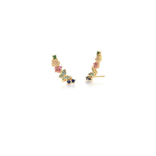 Brinco Ear Cuff Borboleta e Zircônias Coloridas Banhado a Ouro