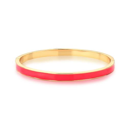 Bracelete Esmaltado na Cor Vermelha Banhado a Ouro