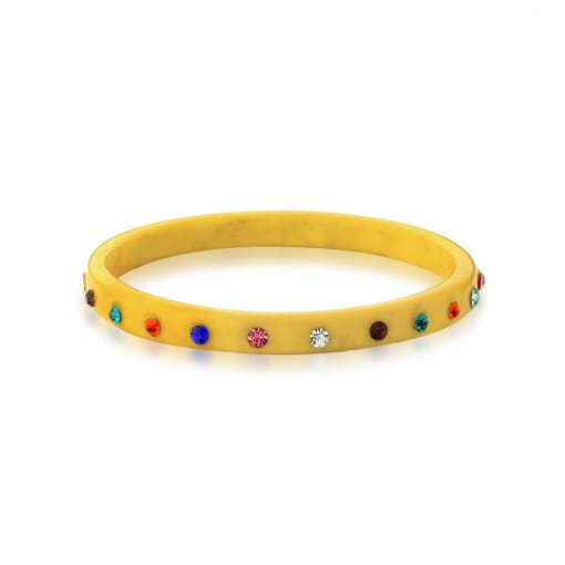Bracelete em Acrílico Cor Amarela e Strass Coloridos Bijuteria