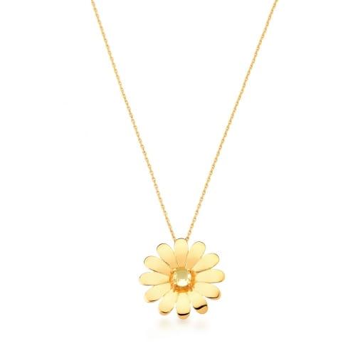 Corrente com Pingente de Flor Prasiolita Banhada a Ouro