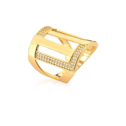 Anel Retangular Vazado e Cravejado com Zircônias Banhado a Ouro