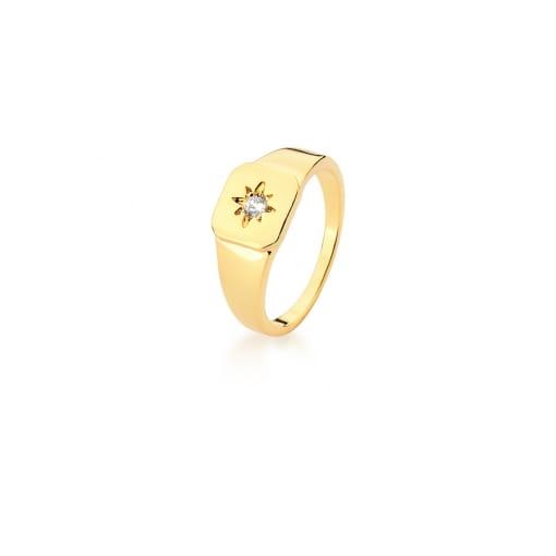 Anel Dedo Mínimo Quadrado com Estrela Branca Banhado a Ouro