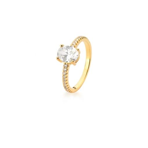 Anel com Cristal Oval e Zircônias Brancas Banhado a Ouro