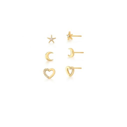 Kit Três Pares de Brincos Diversos Brancos Banhado a Ouro