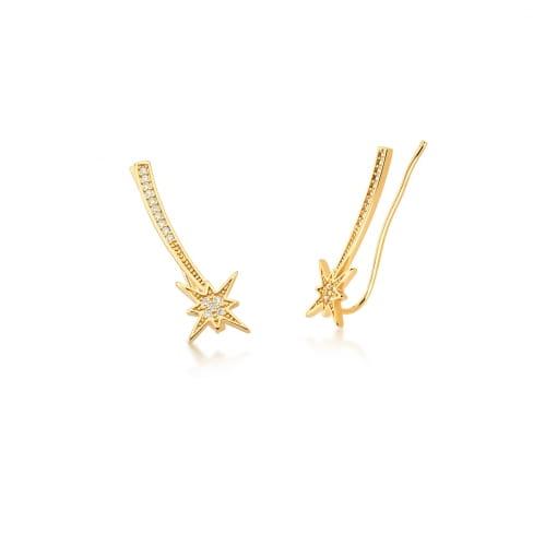 Brinco Ear Cuff de Estrela com Zircônias Brancas Banhado a Ouro
