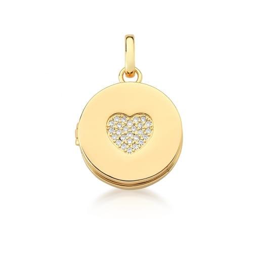 Pingente Relicário Redondo com Coração Branco Banhado a Ouro