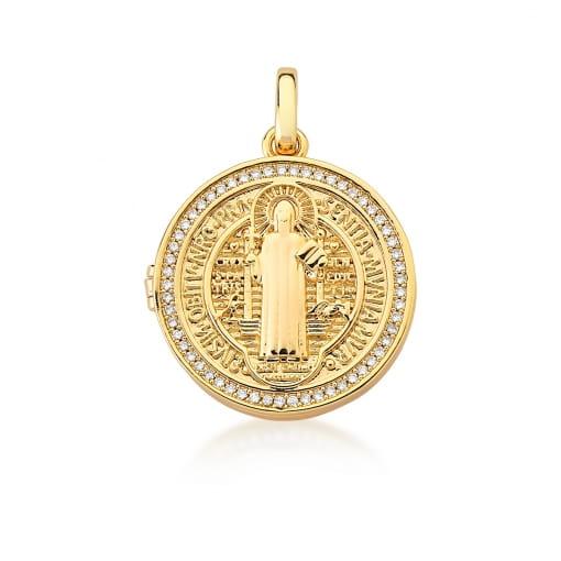 Pingente Relicário com Imagem de São Bento Banhado a Ouro