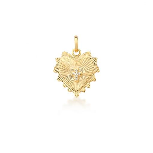 Pingente de Coração e Cruz Branca Banhada a Ouro