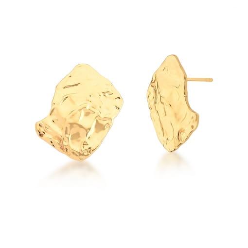 Brinco Retangular Curvo Trabalhado e Liso Banhado a Ouro