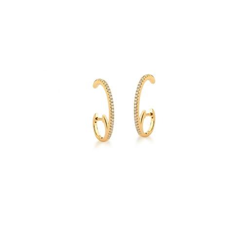 Argola Ear Hook com Zircônias Brancas Banhada a Ouro