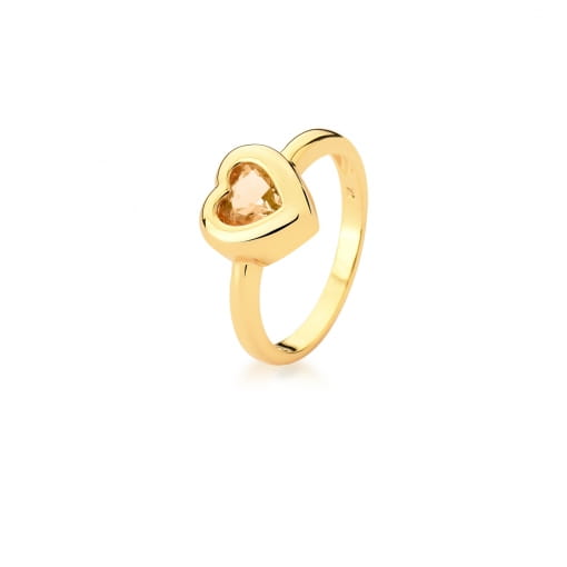 Anel com Cristal de Coração Morganita Banhado a Ouro