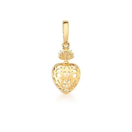 Pingente de Coração Vazado e Liso com Fecho Banhado a Ouro