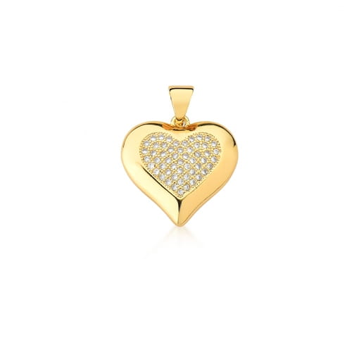 Pingente Coração Cravejado com Zircônias Brancas Banhado a Ouro