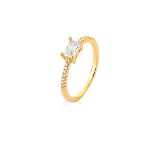 Anel com Cristal Retangular Branco Banhado a Ouro