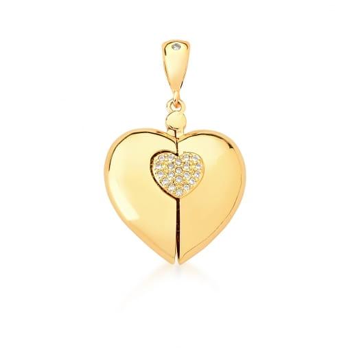 Pingente Relicário de Coração com Duas Meninas Banhado a Ouro