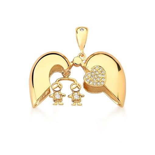 Pingente Relicário de Coração com Dois Meninos Banhado a Ouro