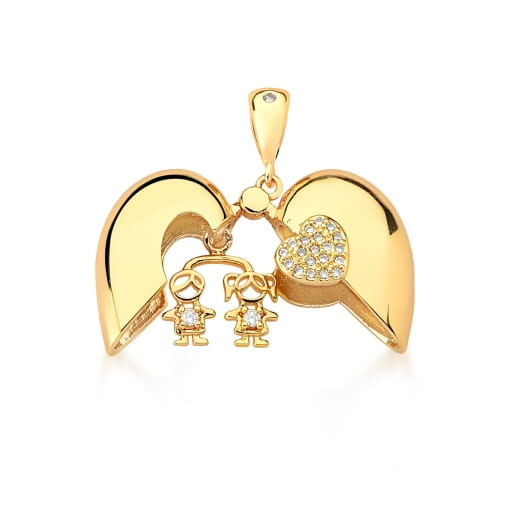 Pingente Relicário de Coração Menino e Menina Banhado a Ouro