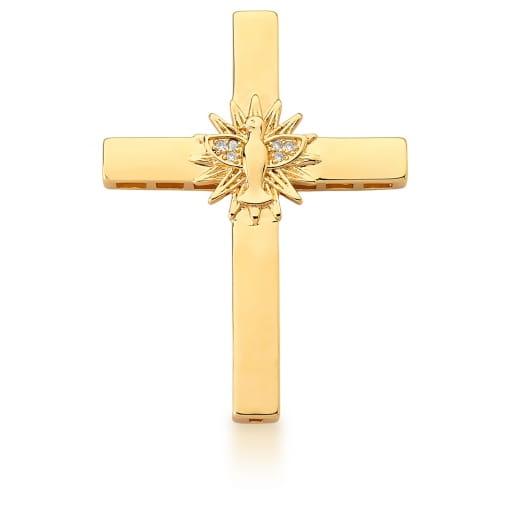 Pingente de Cruz com Imagem Divino Espírito Santo Banhado a Ouro