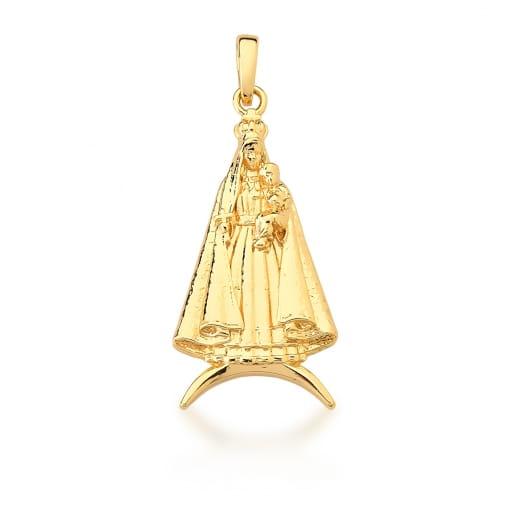 Pingente Imagem de Virgem Maria com Jesus Banhado a Ouro