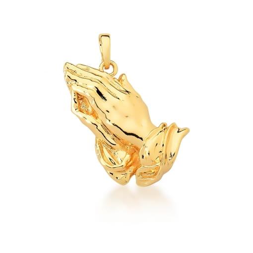Pingente De Duas Mãos Liso Banhado a Ouro