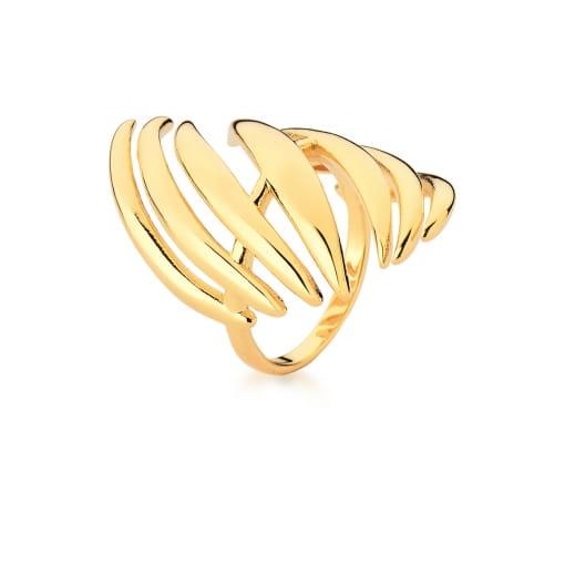 Anel com Fileiras Curvas e Lisas Banhado a Ouro