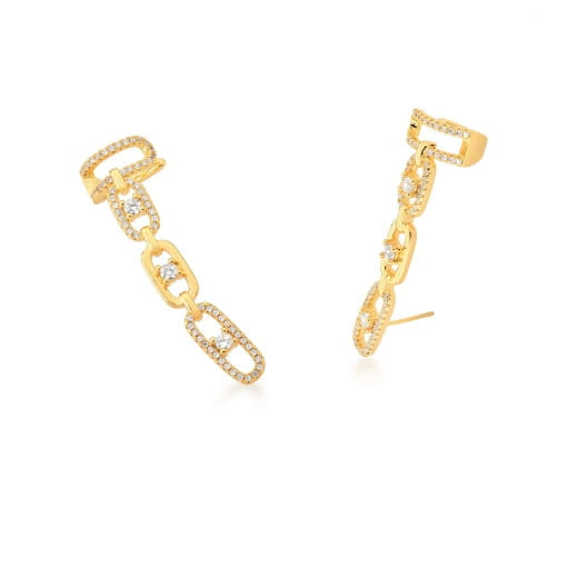 Brinco Ear Cuff com Elos Cravejados Brancos Banhado a Ouro