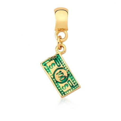 Pingente Berloque Cédula de Dinheiro Verde Banhado a Ouro