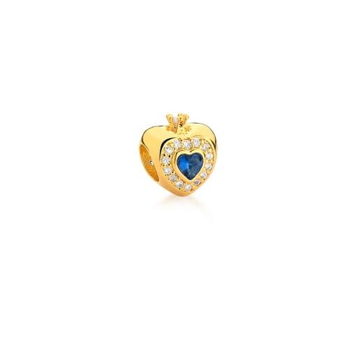 Berloque de Coração com Zircônia Azul Banhado a Ouro