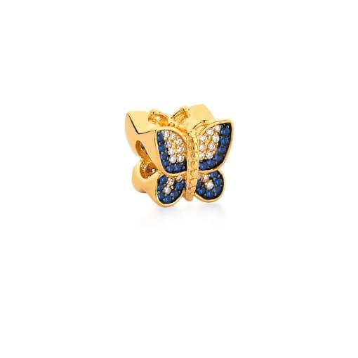 Berloque de Borboleta com Zircônias Azuis Banhado a Ouro