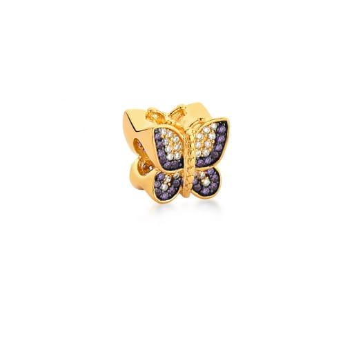 Berloque de Borboleta com Zircônias Lilás Banhado a Ouro