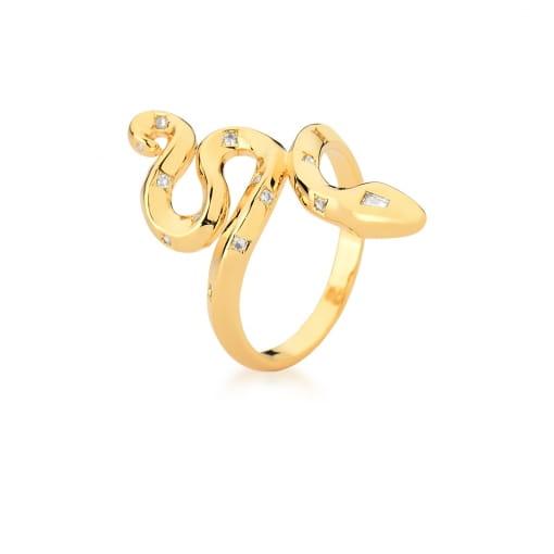 Anel de Cobra com Estrelas e Zircônias Brancas Banhado a Ouro