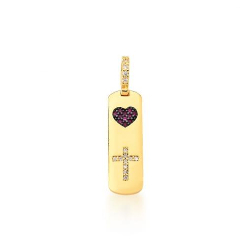 Pingente Placa com Escrita Coração e Cruz Banhado a Ouro