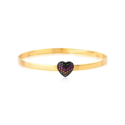 Bracelete com Pingente de Coração Colorido Banhado a Ouro