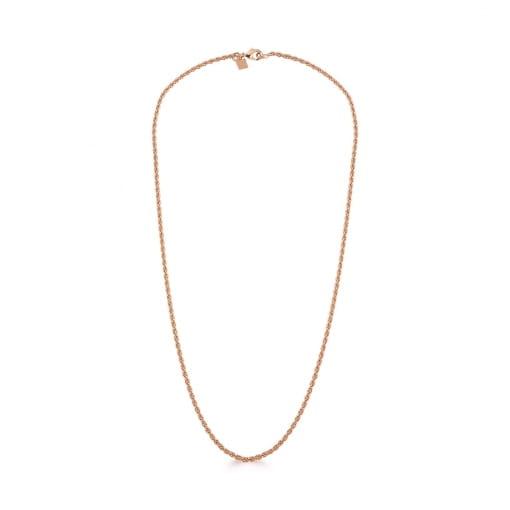 Corrente em Cordão Baiano Liso 45cm Banhada a Ouro Rosê