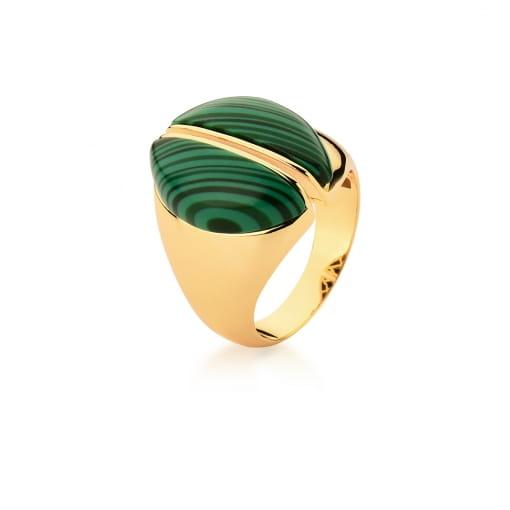 Anel Oval com Pedra Malaquita Verde Banhada a Ouro