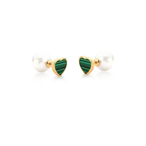 Brinco de Coração Pedra Malaquita Verde e Pérola Banhado a Ouro